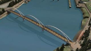 One of the designs for the proposed new pedestrian and cycle bridge across the River Lagan