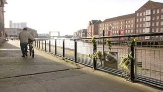 Railings alongside River Hull