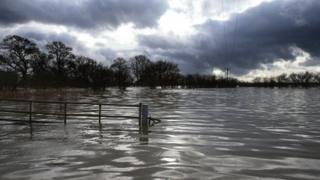 Flooding near Muchelney in Somerset