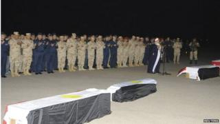 Egypt's Army Chief General Abdel Fattah al-Sisi with other generals and military personnel, attending a military funeral for five officers who died in what the Egyptian military is only referring to as a helicopter crash