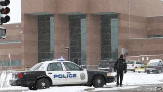 A police cruiser was seen outside Standley Lake High School in Westminster, Colorado, on 27 January 2014