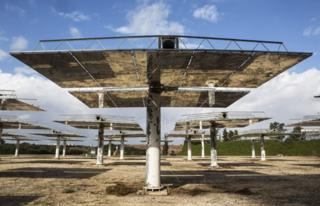 Mirrors used by Israeli start-up NewCO2fuel at the Weizmann Institute of Science, near Tel Aviv