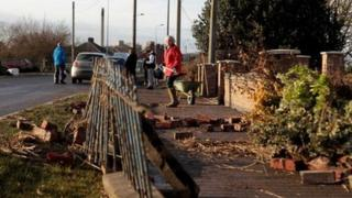 Residents at North Ferriby clear up after the tidal surge