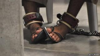A detainee's shackled feet at Guantanamo, 2009