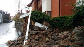 Crash scene in Rothley