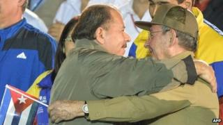 Ortega (left) and Raul Castro (right)
