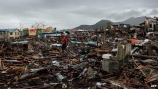 An area damaged by Typhoon Haiyan