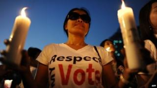 A Thai pro-election activist holds candles as activists rally in support of an upcoming election at a park in downtown Bangkok, 30 January 2014