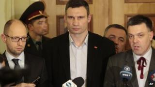 Ukrainian opposition leaders Arseniy Yatsenyuk, Vitali Klitschko, Oleh Tyahnybok