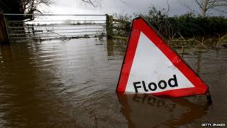 A flood warning sign partially submerged