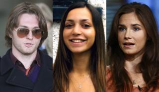 Raffaele Sollecito, Meredith Kercher, Amanda Knox (composite)