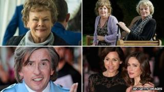 Clockwise from top left: Dame Judi Dench in Philomena, Pauline Collins and Dame Maggie Smith in Quartet, I Give It a Year stars Minnie Driver and Rose Byrne and Steve Coogan as Alan Partridge