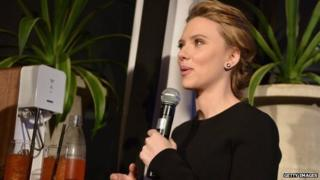 Actress Scarlett Johansson speaks at a press conference announcing her new role as spokesperson for SodaStream on January 10, 2014.