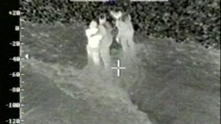 Helicopter image of cockle picker Li Hua who was rescued from Morecambe Bay