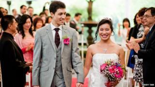 Damjan Vukcevic and Joan Ko on their wedding day