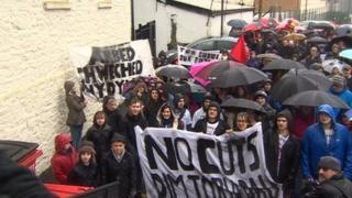 Protest against proposed Merthyr council service cuts