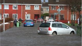 Cars in flood water after a flash flood on the Lee Estate in Limerick City
