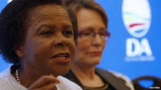 Anti-apartheid activist Mamphela Ramphele speaks at a news conference with opposition Democratic Alliance (DA) party leader Helen Zille (R)