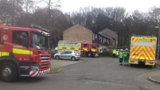Fire crews at the site of the leak