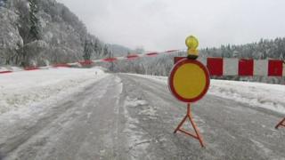 A road closed in Slovenia