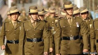 The Queen's Gurkha Engineers on parade on February 24, 2011.