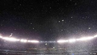 Confetti floats in the air during post game celebrations as the Seattle Seahawks defeated the Denver Broncos in the NFL Super Bowl XLVIII football game in East Rutherford, New Jersey, on 2 February 2014.