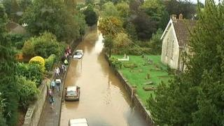 A flooded street in Chew Magna, North Somerset