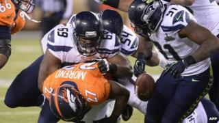 The Seattle Seahawks bear the Denver Broncos in the most-watched television event in US history