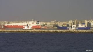 Norwegian cargo vessel Taiko (L) and Danish vessel Ark Futura in Latakia (27 January 2014)