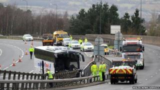 bus crash M4 Newport