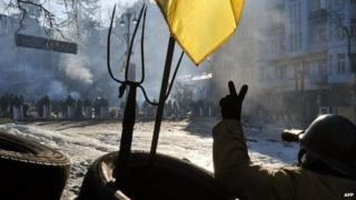 An anti-government protester face police in Kiev. Photo: 4 February 2014
