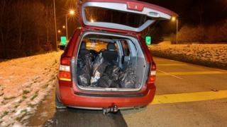 Cannabis haul in bags in car