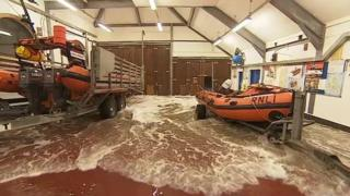 Looe lifeboat station flood