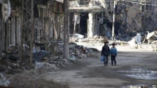 Children in Deir al-Zour, Syria (24 January 2014)