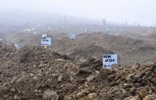 Anonymous graves of militants suspected of terrorist attacks, on the outskirts of Makhachkala, Dagestan, 24 January