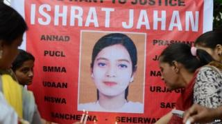 2013 file picture of a protest against the killing of Ishrat Jahan