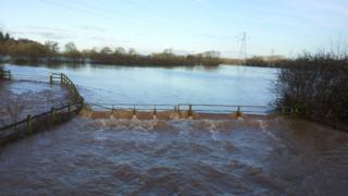Flooding at Powick
