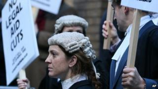 Lawyers outside Southwark Crown Court during a demonstration