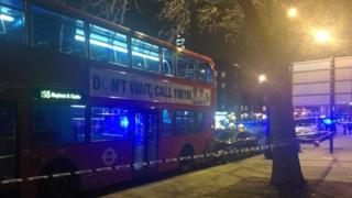 Cordon around a bus and a car on Clapham Road