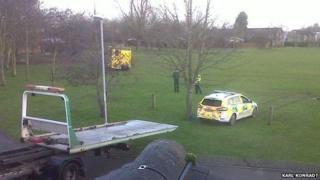 Ambulance vehicles on Bar Hill village green