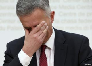 Swiss President and Foreign Minister Didier Burkhalter reacts during a news conference on the results of the referendum on reintroducing immigration quotas, in Bern, 9 February