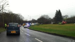 Air ambulance at scene of crash on A4063 near Bridgend