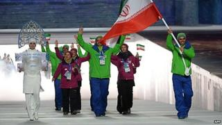 Iran's team at Sochi, with 'modest' Snow Maiden at left.