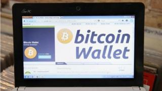 Bitcoin wallet on screen