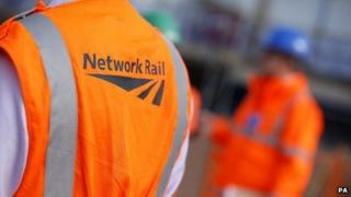 Network Rail workers in high-visibility jackets