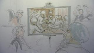 Court artist sketch of the hearing including CCTV footage