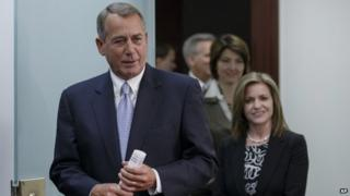 House Speaker John Boehner of Ohio, left, followed by Representative Lynn Jenkins and Representative Cathy McMorris Rodgers, and House Majority Whip Kevin McCarthy 4 February 2014