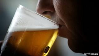 A man drinking