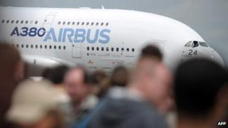 Airbus A380 on display at the Paris Airshow
