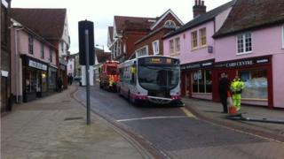 A bus which hit a shop in Stowmarket